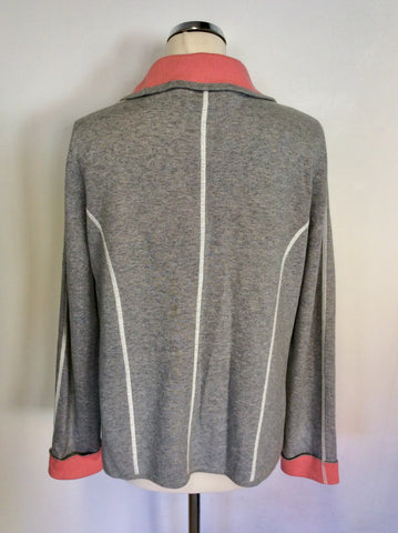 BETTY BARCLAY LIGHT GREY & CORAL SWEATSHIRT CARDIGAN/ JACKET SIZE XL