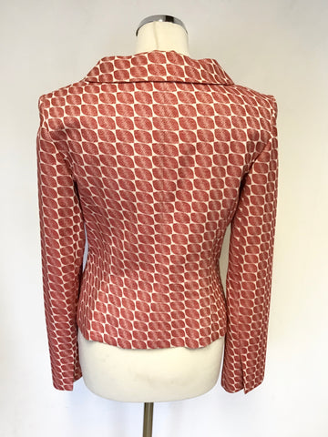 COAST RED & IVORY PRINT A LINE SKIRT & JACKET SUIT SIZE 8/10