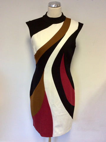 KAREN MILLEN RED,WHITE,BLACK & TAN PENCIL DRESS SIZE 14