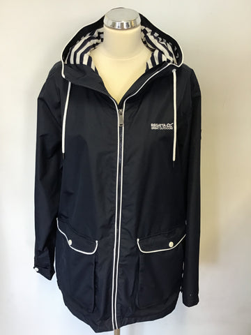 REGATTA NAVY BLUE & WHITE TRIM LIGHTWEIGHT HYDRAFORT WATERPROOF JACKET SIZE 18
