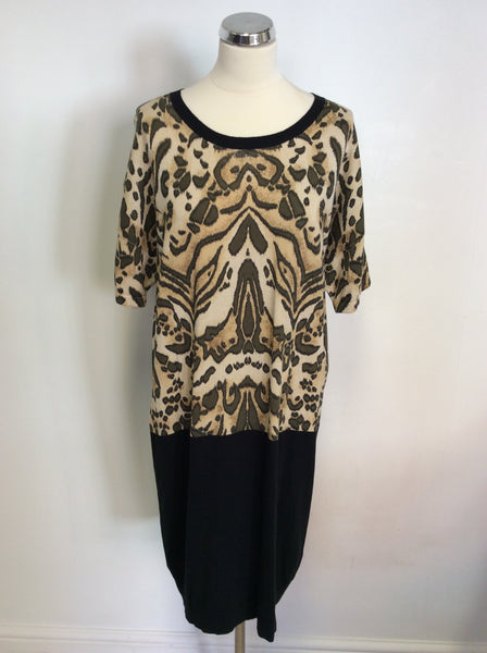 HOBBS CAMEL & BLACK PRINT KNIT SHIFT DRESS SIZE 14