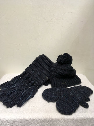 BARTS JASMIN HEATHER WOOL BLEND HAT,SCARF & MITTENS SET