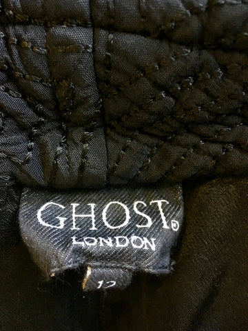 GHOST BLACK QUILTED DESIGN KNEE LENGTH COAT SIZE 12