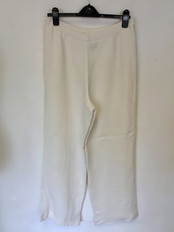 CLAUDIA STRATER WHITE LINEN BLEND TROUSERS SIZE 42 UK 14