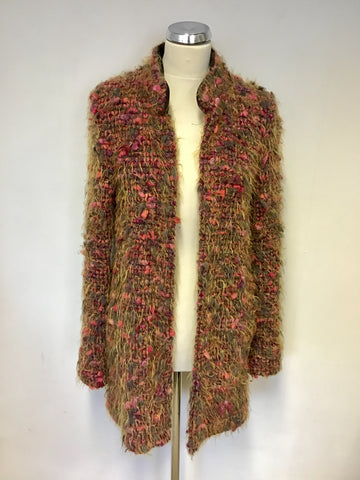 AIRFIELD ORANGE,RED & GREEN BOUCLE SHAGGY KNIT JACKET SIZE 38 UK 10