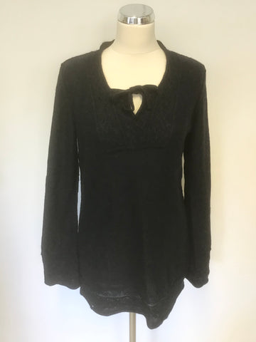 PERUVIAN CONNECTION CHARCOAL 100% ALPACA TIE FRONT LONG SLEEVE JUMPER SIZE M