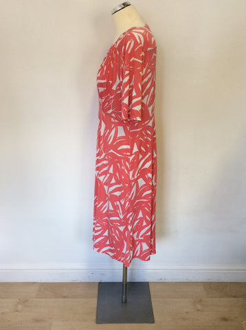ANTHOLOGY CORAL & WHITE PRINT SHORT SLEEVE DRESS SIZE 18