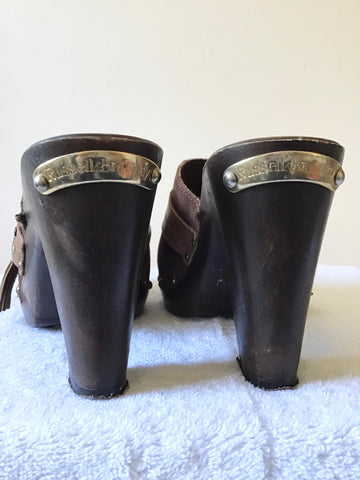 RUSSELL & BROMLEY BROWN SUEDE & LEATHER CLOG HEEL MULES SIZE 4/37