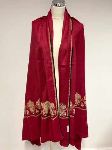 BRAND NEW DEAN ALAN RED EMBROIDERED TRIM LARGE WOOL SHAWL/ WRAP