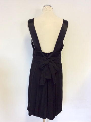 BCBGMAXAZRRIA BLACK SILK TRIM SPECIAL OCCASION DRESS SIZE M UK 12