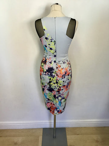 KAREN MILLEN PALE BLUE FLORAL PRINT PENCIL DRESS SIZE 8