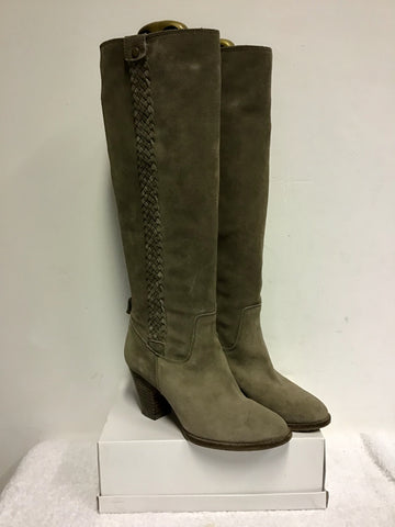 LIGHT BROWN SUEDE KNEE LENGTH HEELED BOOTS SIZE 5/38