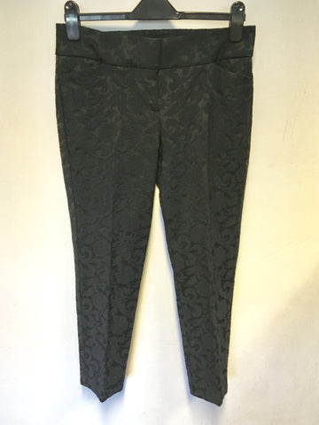 BRAND NEW PHASE EIGHT BLACK EMBOSSED CAPRI PANTS SIZE 10