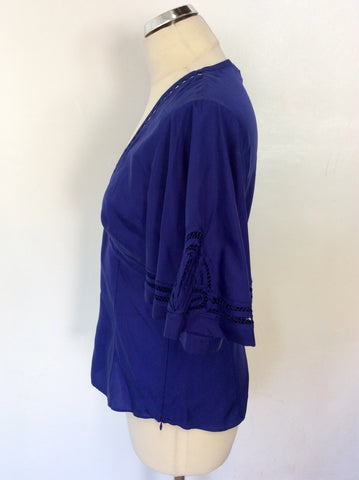 BRAND NEW KAREN MILLEN BLUE SILK TOP SIZE 12