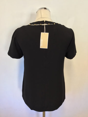 BRAND NEW MICHAEL KORS BLACK & GOLD BEADED SHORT SLEEVE TOP SIZE XS