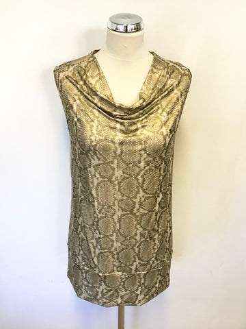 AIRFIELD GOLD SNAKESKIN COWL NECK SLEEVELESS STRETCH TOP SIZE 10