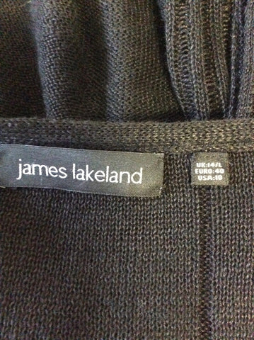 JAMES LAKELAND BLACK LINEN BLEND SLEEVELESS FINE KNIT TOP SIZE 14