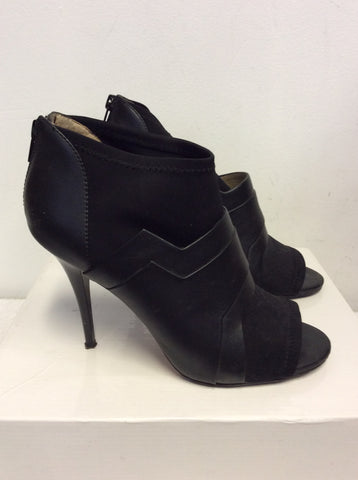 DANIEL BLACK LEATHER & ELASTICATED FABRIC HEELED SHOE BOOTS SIZE 5/38