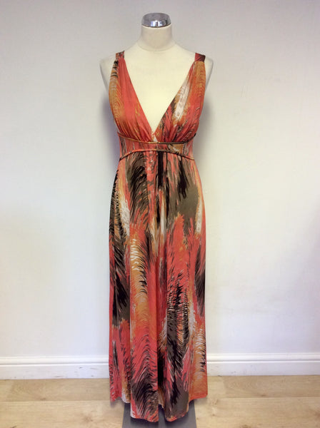 IZABEL LONDON ORANGE PRINT STRETCH MAXI DRESS SIZE 12