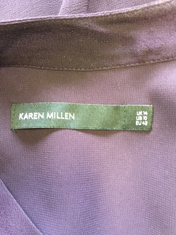 BRAND NEW KAREN MILLEN AUBERGINE WITH SILK FRILL TRIM SLEEVELESS TOP SIZE 14