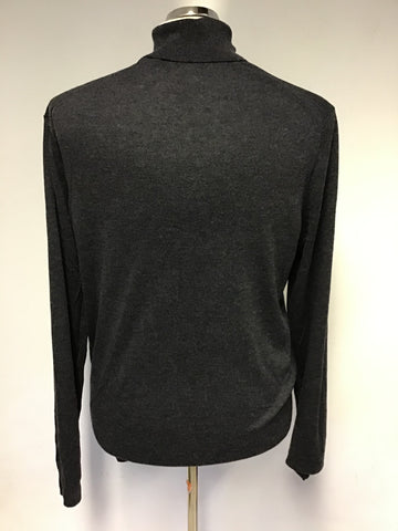 TED BAKER HALE DARK GREY WOOL,CASHMERE & SILK BLEND POLO NECK JUMPER SIXE 6 UK XL