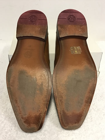 KURT GEIGER TAN LEATHER SLIP ON SHOES SIZE 7.5/41