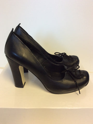 BRAND NEW IRREGULAR CHOICE BLACK LEATHER LACE UP TRIM HEELS SIZE 4.5/ 37.5