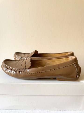 LK BENNETT LATE BROWN PATENT LEATHER LOAFERS SIZE 7.5/41