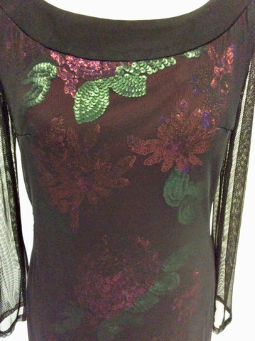 BRAND NEW GINA BACCONI BLACK MESH WITH RED & GREEN SEQUINS COCKTAIL DRESS SIZE 18
