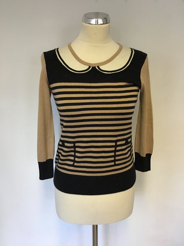HOBBS CAMEL & BLACK STRIPE FINE KNIT JUMPER SIZE 8