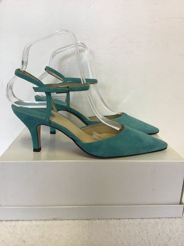 BRAND NEW HOBBS TURQUOISE SUEDE ANKLE STRAP HEELS SIZE 3.5/ 36.5