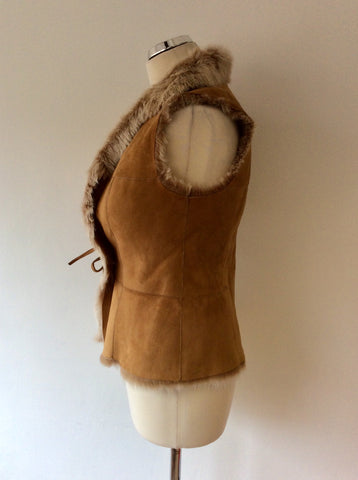 BRAND NEW CELTIC & CO 100% NATURAL HONEY SHEEPSKIN FUR LINED GILET