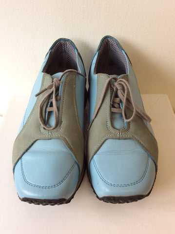 BRAND NEW JOURNEY CONVEYOR BLUE & GREY LEATHER LACE UP SHOES  SIZE 4/37