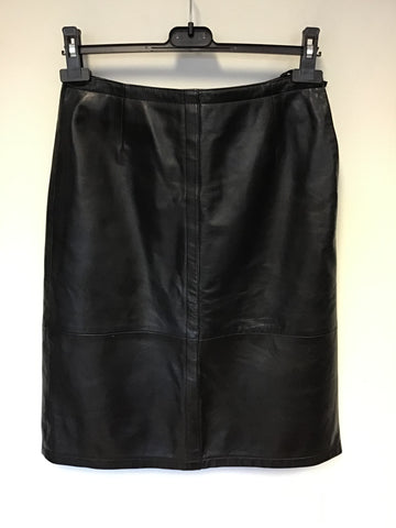BETTY BARCLAY BLACK LEATHER PENCIL SKIRT SIZE 10