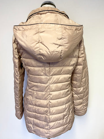 ARMANI JEANS CHAMPAGNE PADDED HOODED JACKET SIZE 46 UK 14