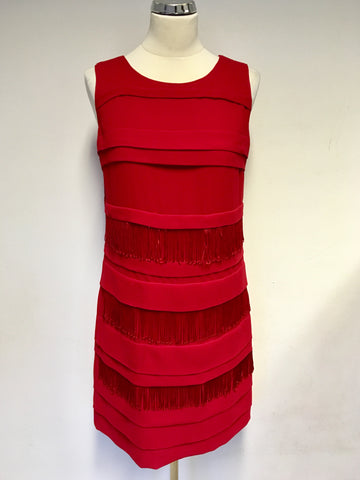 MARKS & SPENCER AUTOGRAPH EXCLUSIVE RED FRINGE TRIM SHIFT DRESS SIZE 10