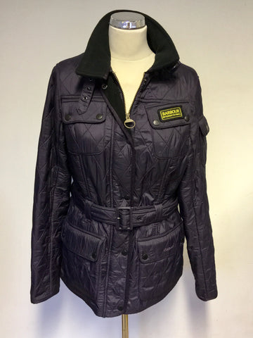 BARBOUR INTERNATIONAL AUBERGINE QUILTED BELTED JACKET SIZE 14