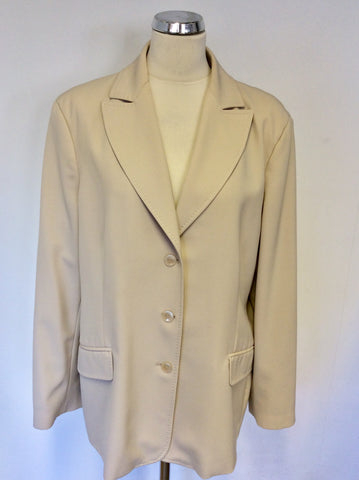 ARTIGIANO STONE WOOL BLEND FORMAL JACKET SIZE 20