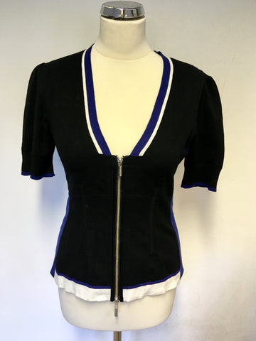 KAREN MILLEN BLACK, WHITE & BLUE SHORT SLEEVE ZIP UP CARDIGAN SIZE 4 UK 14