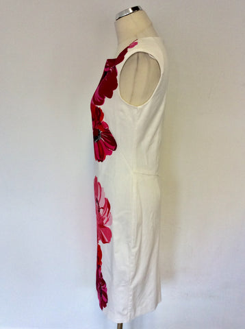PHASE EIGHT WHITE & FLORAL PRINT PENCIL DRESS SIZE 8