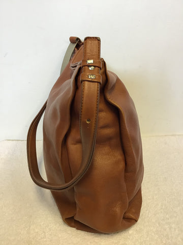 LUIS ESTEVE CHESTNUT BROWN LEATHER SHOULDER BAG