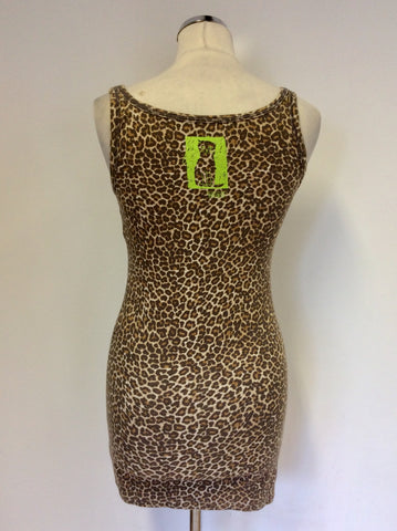 MARCCAIN SPORTS BROWN LEOPARD PRINT VEST TOP SIZE N3 UK 12