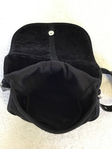 UGG BLACK SHEEPSKIN FLAP FRONT SHOULDER BAG