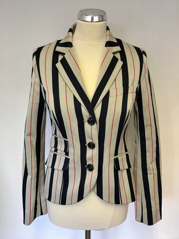 JACKS WILLS FABULOUSLY BRITISH LIGHT GREY,NAVY & RED STRIPE WOOL BLEND JACKET SIZE 10