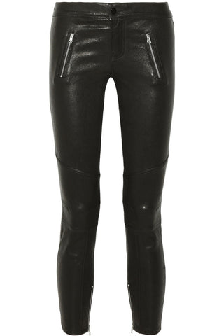 J BRAND JULIA BIKER BLACK LEATHER CROP SKINNY PANTS SIZE 27
