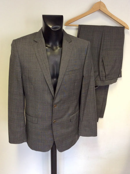 FRENCH CONNECTION GREY CHECK WOOL BLEND SUIT SIZE 40L