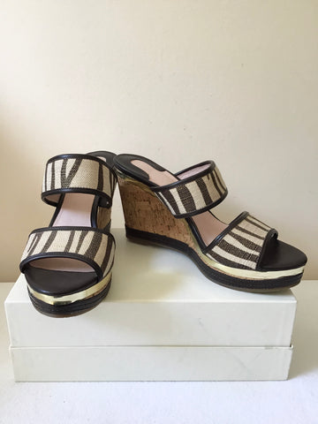 BRAND NEW MODA IN PELLE CREAM & BROWN GOLD TRIM  WEDGE HEEL MULES SIZE 7/40