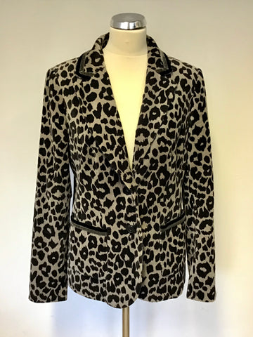 BODEN BLACK & GREY LEOPARD PRINT BRUSHED COTTON JACKET SIZE 14