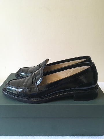 HOBBS BLACK STEFANIA BLACK LEATHER SLIP ON LOAFERS SIZE 3/36