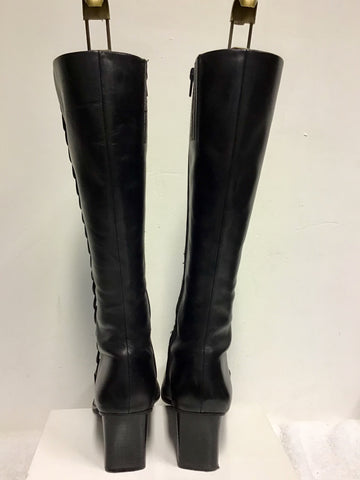 DOLCIS BLACK LEATHER KNEE LENGTH BOOTS SIZE 6/39